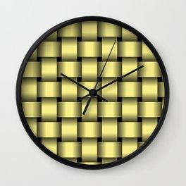 Large Khaki Yellow Weave Wall Clock