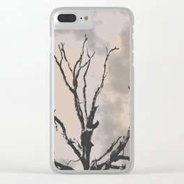 Stormy Skies, Abstract Art Tree Storm Clouds Clear iPhone Case