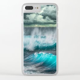 Turquoise Sea and Clouds Clear iPhone Case