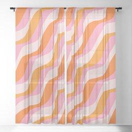 Zebra Stripes Abstract Lines Sunshine Retro Colorful Pink Orange Colors Boho Swirl Modern Pattern Sheer Curtain