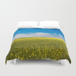 Drifting Days - Blissful Spring Day of Blue Skies and Yellow Canola Fields Duvet Cover
