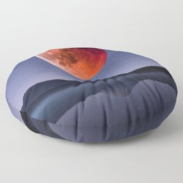 Blood Moon over Mt Rainier Washington State Floor Pillow