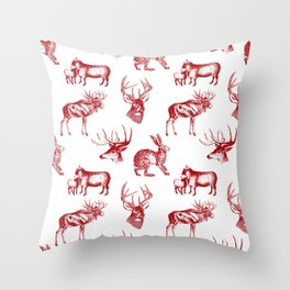 Woodland Critters in Red and White Throw Pillow