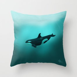 """Lost in Paradise"" by Amber Marine ~ Killer Whale ~ Orca ~ Original Version ~ (Copyright 2015) Throw Pillow"