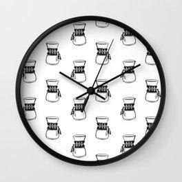 Chemex coffee maker black and white linocut minimal kitchen foodie pattern Wall Clock