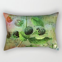 Blackberry Music, Vintage Botanical Illustration Collage Art Rectangular Pillow