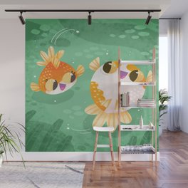Happy 2 Little Goldfish Wall Mural