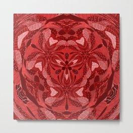 Red Embroidery Heart Mandala Metal Print