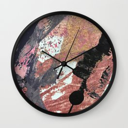01015: colorful pink purple and gold abstract Wall Clock