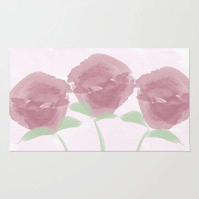 Watercolor Pink Roses Bouquet Rug