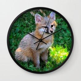 Little Grey Fox Wall Clock