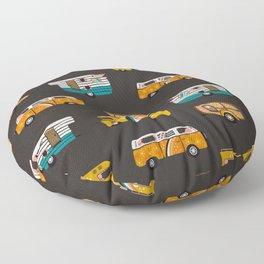 Retro Road Trip – Charcoal Floor Pillow