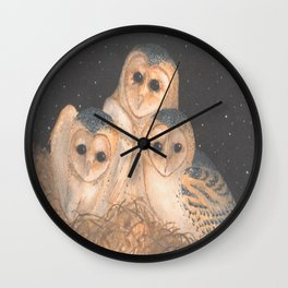 Barn Owls Wall Clock