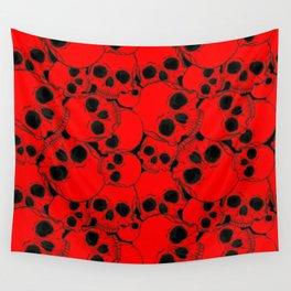 Red Black Skull Pattern Wall Tapestry
