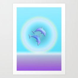 Dolphin Joy in Blue Art Print