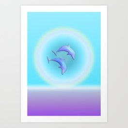 Dolphin Joy in Blue Art Print