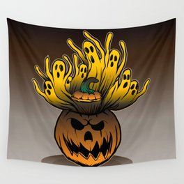Classic character of ghost and pumpkin Wall Tapestry