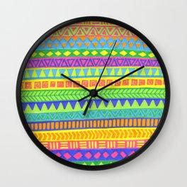 Happy colors inka pattern Wall Clock
