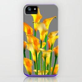 PURPLE-GREY ART NOUVEAU GOLDEN CALLA LILIES iPhone Case