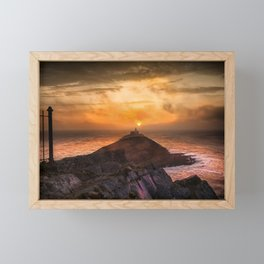 Sunrise at Mumbles lighthouse Framed Mini Art Print