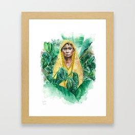 Woman in Yellow Sari Framed Art Print