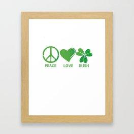 Peace Love Irish St Patrick's Day Framed Art Print