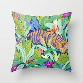 Colorful Jungle Throw Pillow