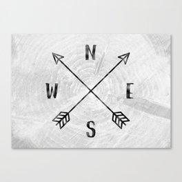 Black and White Wood Grain Compass Canvas Print
