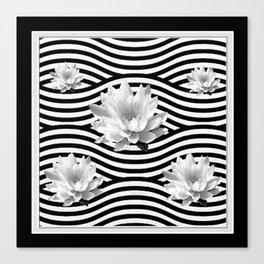 Black & White Water Lilies Water Garden Canvas Print