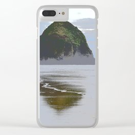 Illustrated Haystack Rock Clear iPhone Case