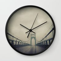 marc johns Wall Clocks featuring St. Johns Bridge by Leah Flores