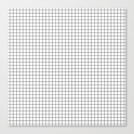 White Grid Black Line Canvas Print