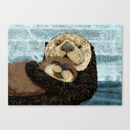 Sea Otter Mother and Baby Canvas Print