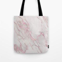 Marble Love Rose Gold Pink Metallic Tote Bag