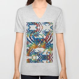 Bright Colorful Crab Collage Art by Sharon Cummings Unisex V-Neck