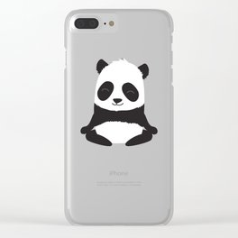 Mindful panda levitating Clear iPhone Case