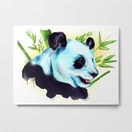 Blue Panda mixed Art Metal Print