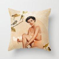peach Throw Pillows featuring Peach by Heather Landis