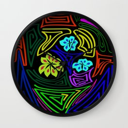 bands of color around the flowers Wall Clock