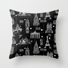 Globetrotter Black and White Travel Throw Pillow