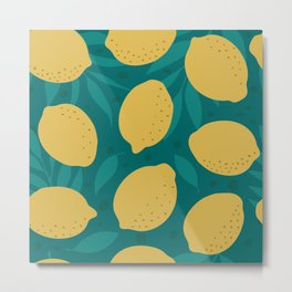 Green Yellow Lemon Pattern Metal Print