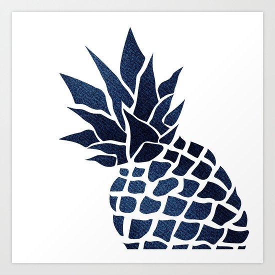 Pineapple, Big Blue, Denim Navy by meganmorrisart
