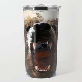 Grizzly Bear Face - Watercolor Travel Mug