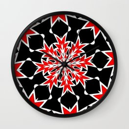 Bizarre Red Black and White Pattern 2 Wall Clock