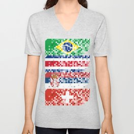 Abstract composition of the flags of national sports teams Unisex V-Neck