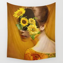 Sunflower Lady Wall Tapestry