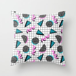 It's Casual - memphis throwback retro neon squiggle grid shapes geometric black and white modern art Throw Pillow