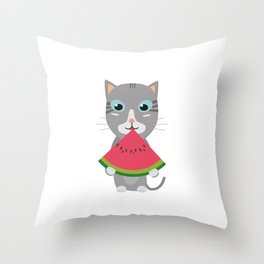 Cat with Melon Throw Pillow