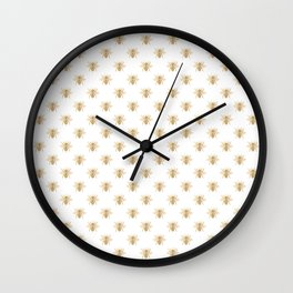 Gold Metallic Faux Foil Photo-Effect Bees on White Wall Clock