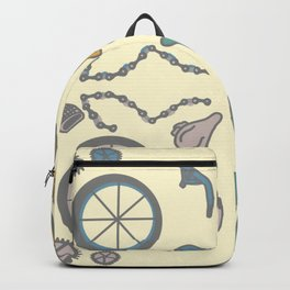 Bicycle Parts Deconstructed in Muted Colors Backpack